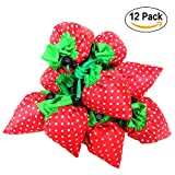 SKL - Confezione di 12fragola riutilizzabili pieghevoli shopping Eco borse con borsa Tracolla, 4colori assortiti
