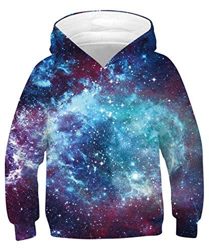 Rave on Friday Galaxie Sweat à Capuche Cool 3D Imprimé Hoodie Filles Marrant Pullover Sweatshirt Manche Longue avec Poche pour Garçons XL (14-16 Ans, 155-172 cm)