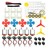 WOSKY 6 Set DC Motors Kit, Mini Electric Hobby Motor 3V -12V 25000 RPM Strong Magnetic with 86Pcs Plastic Gears, 9V Battery Clip Connector,Boat Rocker Switch,Shaft Propeller for DIY Science Projects