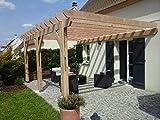 Pergola adossée 690/400 en KIT - 27 m2 - Livraison Offerte - Qualité supérieure, montage facile - Fabricant spécialiste de charpente bois 100% Française. (douglas naturel)