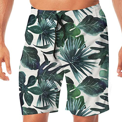 OOworld Men's Swim Trunks Tropical Leaves-Deepsea-Rotate_2740 Quick Dry Beach Wear Shorts Swimwear with Pockets,XL