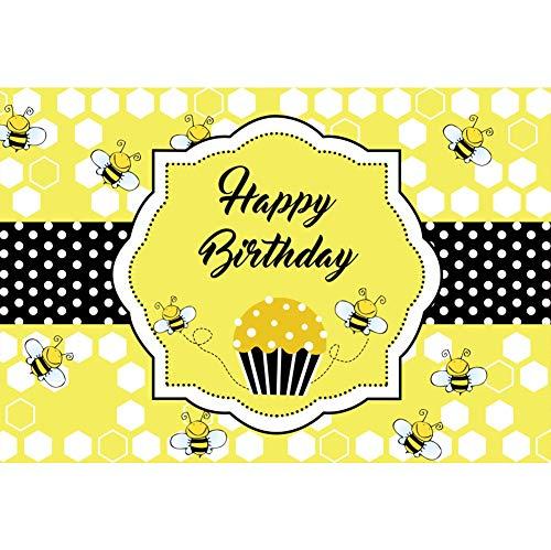 ute zum Geburtstag Hintergrund Cupcake Bienen Gelber Bienenstock Schwarzes Banner Punkte Alles Gute zum Geburtstag Geburtstagsparty Wanddekoration Hintergrund Portraitfotografie ()