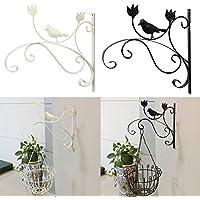 Sue Supply - Soporte de hierro para colgar en la pared o en el balcón para macetas, al aire libre, soporte para plantas, colgador de pared, gancho de pared clásico, blanco y negro