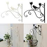 Sue supply Iron Holder gancio staffa per vaso da fiori da balcone da appendere alla parete Outdoor Plant staffa porta piante pianta appeso gancio da parete, classico bianco e nero Nero