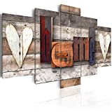 decomonkey Bilder Home 200x100 cm XXL 5 Teilig Leinwandbilder Bild auf Leinwand Vlies Wandbild Kunstdruck Wanddeko Wand Wohnzimmer Wanddekoration Deko Haus Holz