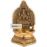 Collectible India Hindu God Laxmi Diya In Antique Brass Oil Lamp Murti / Statue For Diwali / Deepawali Puja / Pooja ( Religious Gift Item )