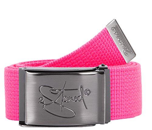 2Stoned Gürtel Canvas Belt Neon-Pink, matte Schnalle Classic, 4 cm breit, Stoffgürtel für Damen und Herren