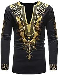 BUSIM Men's Long Sleeved Shirt Autumn Winter Luxury African Style Ethnic Style Printing Round Neck Half-Open Fashion...