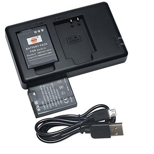DSTE 2PCS Nikon EN EL12(1600mAh/3.7V) Batería Cargador Kit para Nikon Coolpix P300,P310,P330,P340,S31,S70,S610,S620,S630,S640,S800c,S1000pj,S1100pj,S1200pj,S6000,S6100,S6150,S6200,S6300,S8000,S8100,S8200,S9050,S9100, S9200,S9300,S9400,S9500,S9600,AW100,AW100s,AW110,AW110s,AW120s Cámara