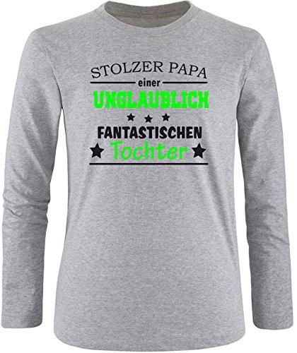 EZYshirt® Stolzer Papa einer unglaublich fantastischen Tochter Herren Longsleeve Grau/ Schwarz/ Neongr
