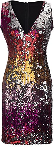 Jeansian Mode Femmes Robe Sans Manches Women Fashion Sexy Evening Party Cocktail Slim Sequins Dresses WHS450 red