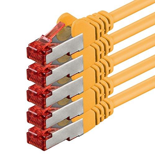 1aTTack.de Netzwerkkabel Cat 6 (1m - gelb - 5 Stück) Ethernetkabel Lankabel Cat6 Sftp Patchkabel Set 1000 Mbit/s Internet DSL Anschluss Router Computer