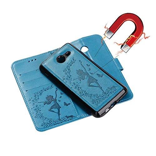 Abnehmbare 2 in 1 Crazy Horse Texture PU Ledertasche, Fairy Girl Embossed Pattern Flip Stand Case Tasche mit Lanyard & Card Cash Slots für Samsung Galaxy J720 ( Color : Rosegold ) Blue