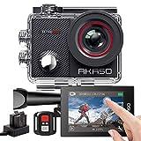AKASO Caméra Sport 4K WiFi Caméra d'Action Sportive avec Ecran LCD Tactile Ultra HD Stabilisateur Télécommande 2.4G Angle Réglable 40M Etanche Sous Marine Kits d'Accessoires 2 Batteries - EK7000 Pro
