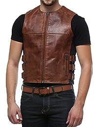 Bareskin Tan Color 100% Genuine Continental Leather Biker Vest For Men With Side Adjustable Straps/Hand Made Leather Jacket /Hand Finished Leather Jacket/Branded Leather Biker Vest/Designer Leather Jacket For Men/Best Biker Vest/Stylish Biker Jacket/Longer Lasting/Quick Delivery