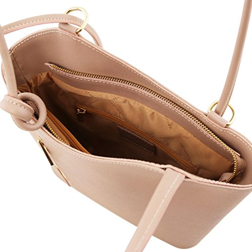 Tuscany Leather Patty - Borsa donna convertibile a zaino in pelle Saffiano - TL141455 (Celeste) Nude
