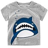 PER Magliette per Bambino Traspirante e Confortevole T-shirt con Carina Stampa di Squali per i Bambini di 2-6 Anni (B, 130)