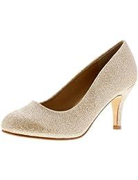 Platino Glinda Mujer Zapatos de Salón con Tacón Dorado - Dorado - GB Tallas 3-8