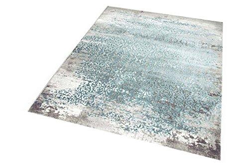 Carpetia Moderner Teppich Antik Vintage Ornamente grau Creme türkis Größe 160x230 cm -