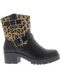 Altos botines forrados tacón de 5cm Negro madre efecto leopardo