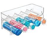 mDesign range bouteille pour vin empilable en plastique sans BPA (lot de 2) - casier à bouteille jusqu'à 5 bouteilles - porte bouteille pratique pour boissons et bouteilles de vin - transparent