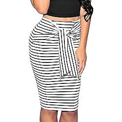 Falda Ajustadas De Mujer Con Cordones Casuales Faldas Tubo De Moda Falda De Rayas LáPiz Paquete Cadera LHWY (Blanco, L)