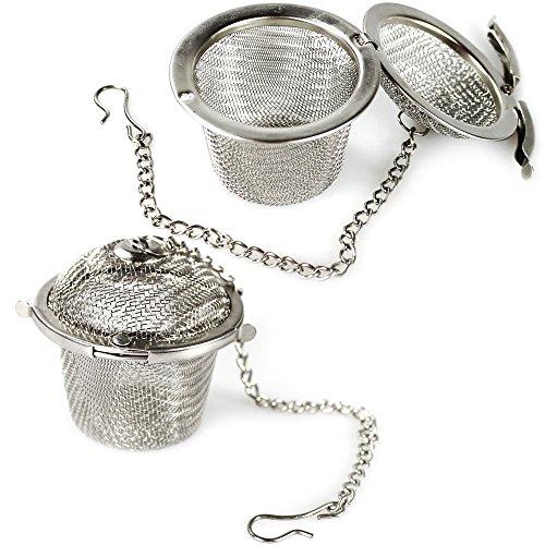 COM-FOUR® Tee Ei Sieb Teeei Teesieb für Teeliebhaber/auch als Gewürzei nutzbar (Edelstahl Ø 5 cm - 2 Stück) (02 Stück - Ø 4.5 cm)
