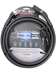 CROPS Cerradura Candado Pro K4 Rydeen - Doble cable de metal recubierto de 2x10mm y 180 cm de largo – Bicicleta Motocicleta Scooter - Anti-robo – Optima Seguridad