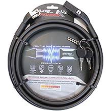 CROPS Cerradura Candado Pro K4 Rydeen - Doble cable de metal recubierto de 2x10mm y 180 cm de largo - Bicicleta Motocicleta Scooter - Anti-robo - Optima Seguridad