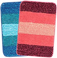 Saral Home Turquoise & Pink Soft Microfiber Anti-Skid Bath Mat (Pack of 2, 35x50