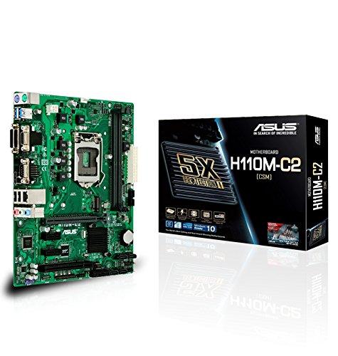 ASUS H110M-C2/CSM Mainboard Sockel 1151 (µATX, Intel H110, 2X DDR4 Speicher, 4X SATA 6Gb/s, 2X USB 3.0, 4X USB 3.0, PCIe 3.0) (Asus Server Mainboard)