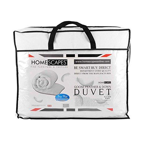 Homescapes Luxus Sommer Bettdecke 230x220 cm Steppdecke Wärmeklasse 2 Gänsefedern und Daunen