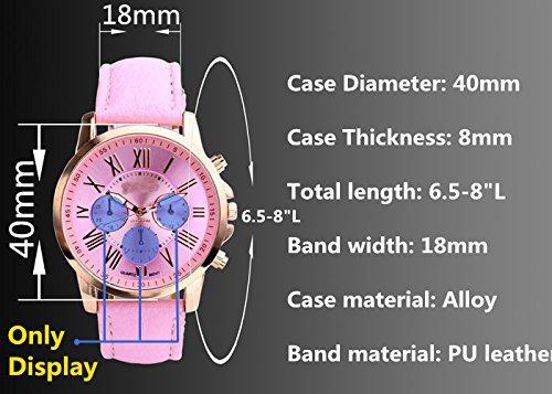 JSDDE Uhren,Neue Damenmode Genf römischen Ziffern-Leder Analog Quarz Armbanduhren(Beige) - 5