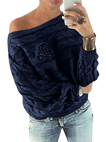 YOINS Pull Femme Sexy Manches Chauve-Souris Chandail Imprimé Aléatoire Floral Sweater Col Bateau Hiver Bleu Foncé XS