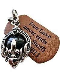 Halskette Kugelkette Kette Anhänger Heraldik Symbol Lilie