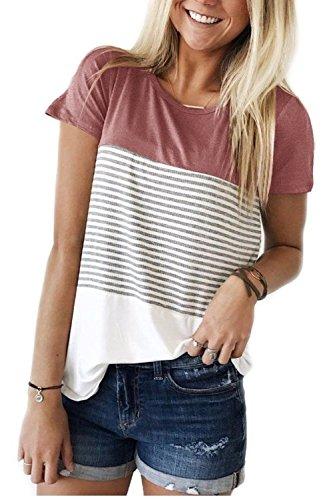 Lässige Kurzarm Shirt Damen Schwarz-Weiß Gestreift T-Shirt mit Rundhals Rosa M - Weiß-rosa T-shirt