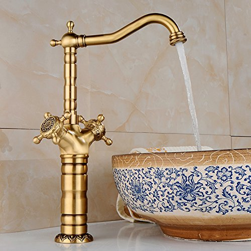 Promozione TougMoo ottone antico bacino bagno Rubinetto Rubinetto becco orientabile Vanity Miscelatore lavello