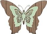 Deko Wand Schmetterling aus Holz und Metall in versch. Farben und Größen (natur, grün, 28 x 21 cm)