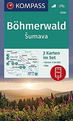 Böhmerwald, Šumava: 2 Wanderkarten 1:50000 im Set inklusive Karte zur offline Verwendung in der KOMPASS-App. Fahrradfahren. (KOMPASS-Wanderkarten, Band 2000)