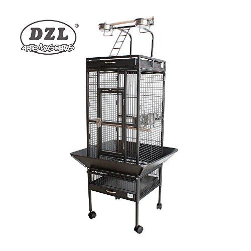 DZL Cage pour perroquet Gris foncé Grand format 156 x 46 x 46 cm