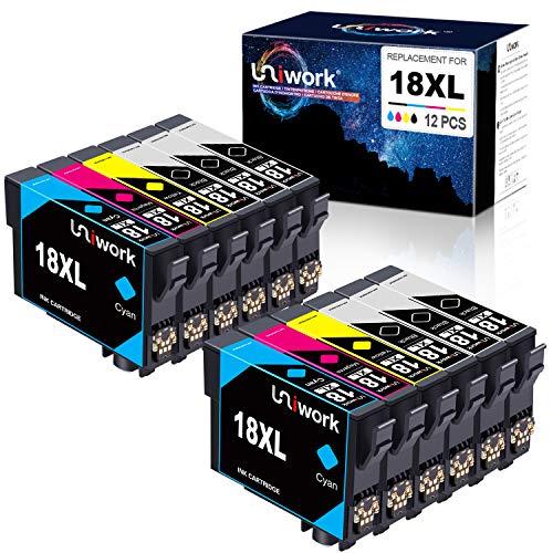 12 Patronen Uniwork Ersatz für Epson 18XL 18 Druckerpatronen für Epson Expression Home XP-322 XP-215 XP-205 XP-225 XP-305 XP-325 XP-422 XP-405 XP-415 XP-425 XP-315 XP-312 XP-425 XP-412 XP-202 XP-102