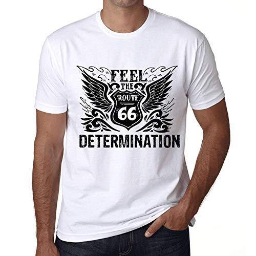 Herren Tee Männer Vintage T shirt Feel The DETERMINATION Weiß
