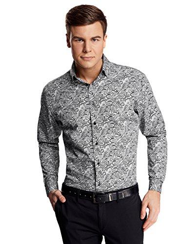 Button-down-pullover-westen (oodji Ultra Herren Hemd Slim Fit mit Paisley-Muster, Grau, Herstellergröße 42 (Kragenweite 42 cm)/DE 52/L)