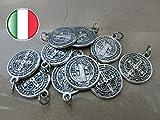 San Benito, medalla plateada con argolla, 10 unidades