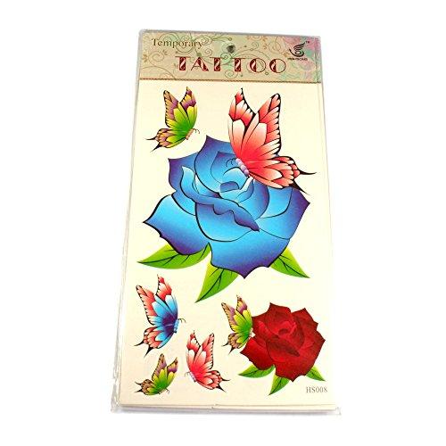 Tattoos Rose in Blau und Rot mit bunten Schmetterlingen