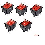 5Pcs Rocker switch 4¨CPole, Red Illuminated Rocker Switch 250 V/16A / 20A/125 V AC