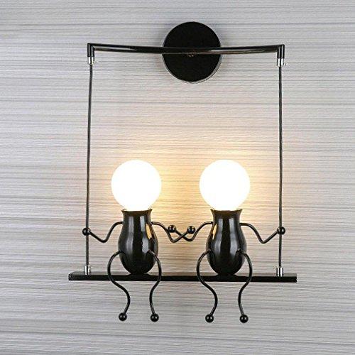 LED Industrie Retro Design Kinder Wandlampe Vintage Karikatur Wandleuchte Kreative Metall E27 Edison Innen Wandbeleuchtung Einstellbar für Bar Schlafzimmer Küche Restaurant Café Flur Max. 40 W , Schwarz-2 (Sirius Radio-home)