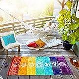 YOOMAT 75 * 150cm/150cm*150cm Single Rainbow Chakra Tapestry Towel Carpet Mandala Boho Stripes Travel Yoga Mat Outdoor Mats,150x150cm