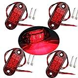Fushengda 4Rot IP6512V/24V Oval LED Seite Marker Leuchten Vorne Hinten Leuchten Universal Anzeige von Position für Truck Trailer Van Caravan LKW Auto Bus Boote
