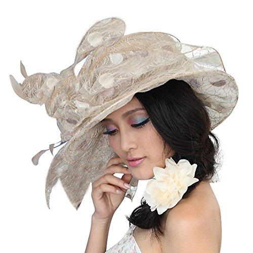 June's Young Chapeau Femmes D'été Anti UV Chapeau de Plage Soleil Personnalité Style Gracieuse Kaki